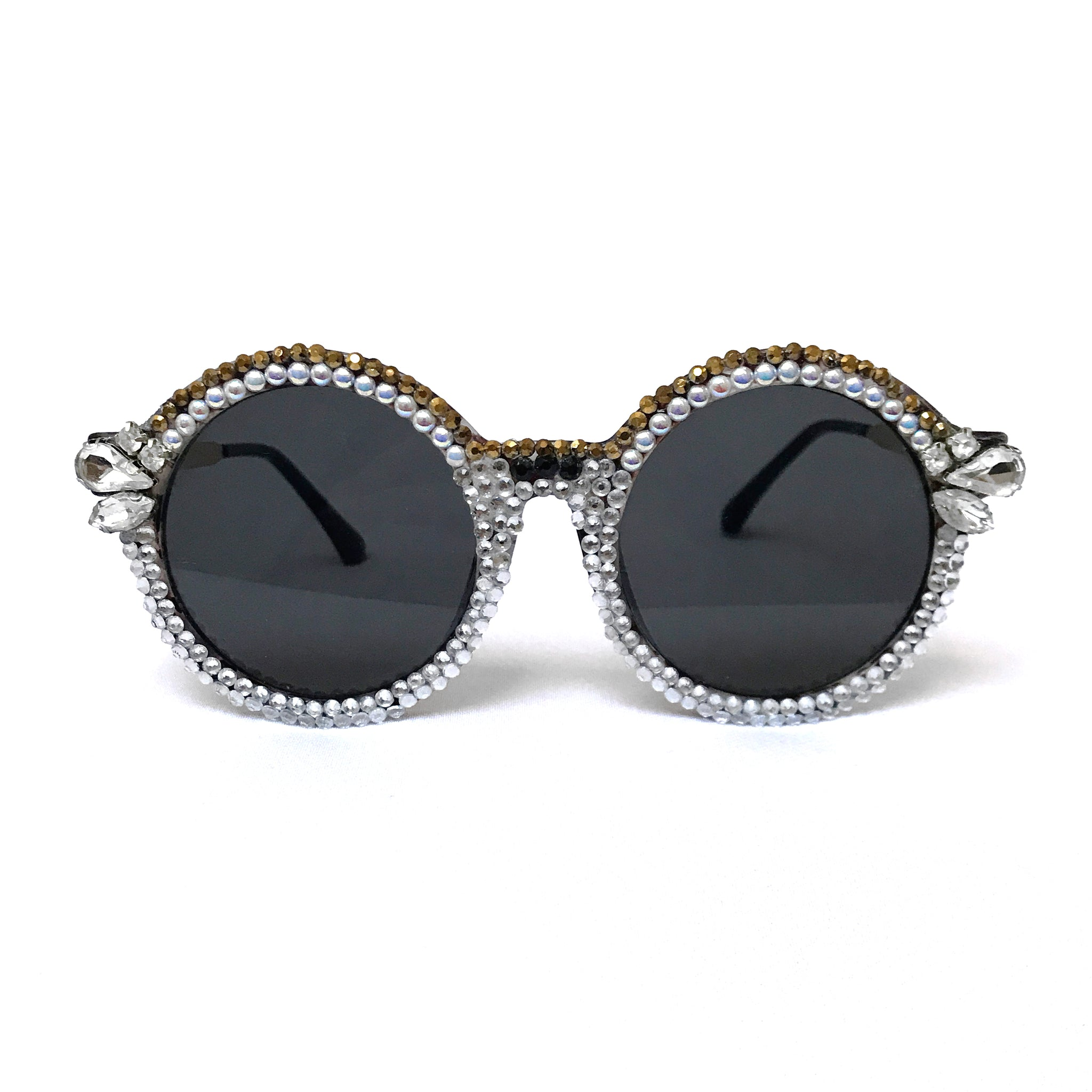 Crystal Deco Black and Gold Sunglasses