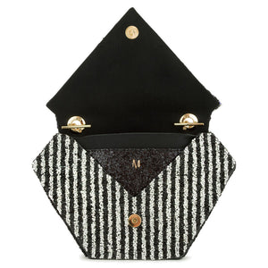 Custom Diamond Bag - Black and White Diamonté Stripe