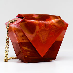 Tangerine Stripe Diamond Resin Clutch