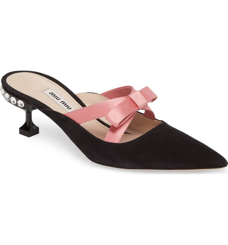 Miu Miu Bow Pointy Toe Mule Cobbler Concierge