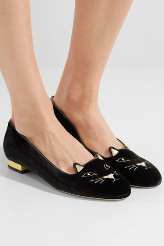Chanel's Charlotte Olympia's Kitty Embroidered velvet slippers