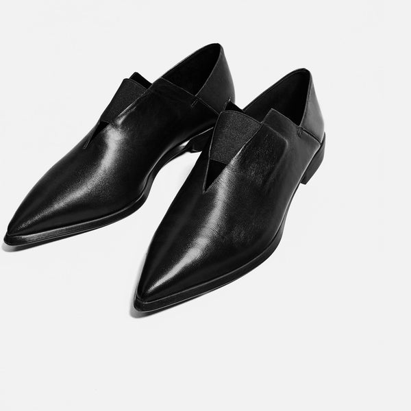 Zara Pointed Leather Flat
