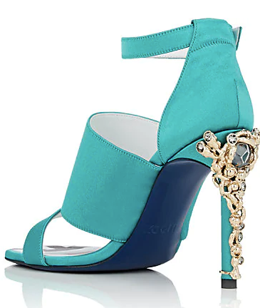 KOCHE Jeweled-Heel Satin Sandals Cobbler Concierge