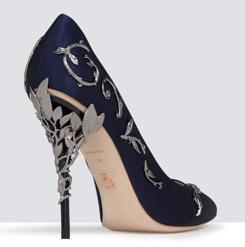 EDEN PUMP MIDNIGHT BLUE SATIN WITH GUNMETAL LEAVES