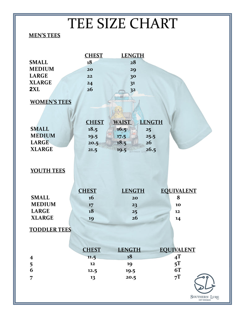 Southern Lure Tee Size Chart