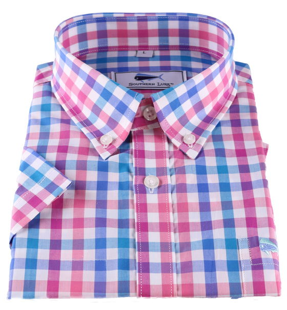 Youth SS Woven Sport Shirt - Blue & Rose Large Gingham