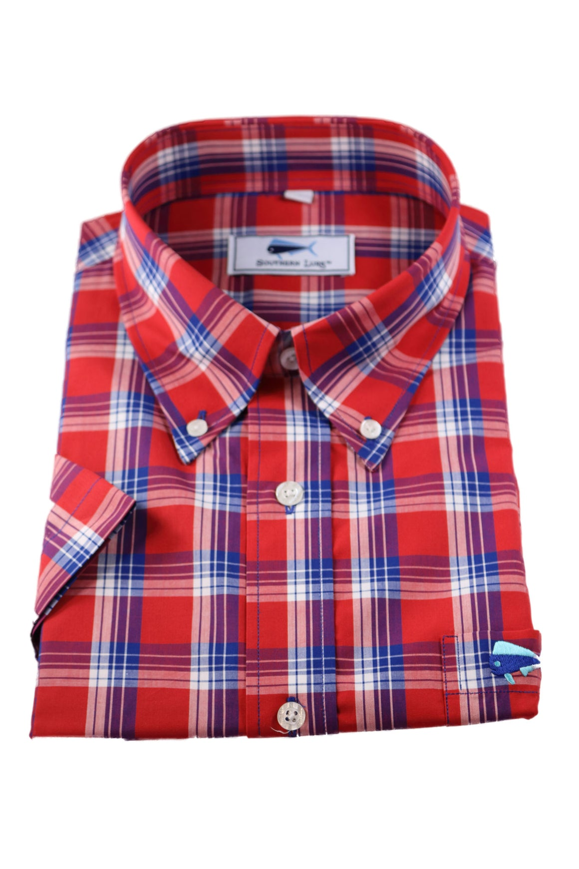 SS Woven Sport Shirt - Red & Navy Spring Tide Plaid
