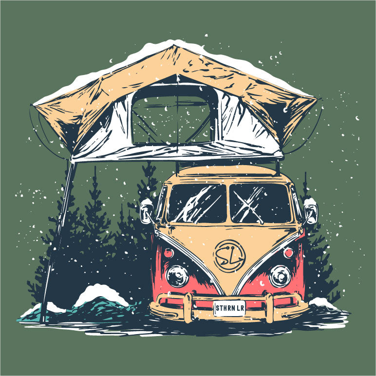 Long Sleeve Tee - VW Camper - Oak Green