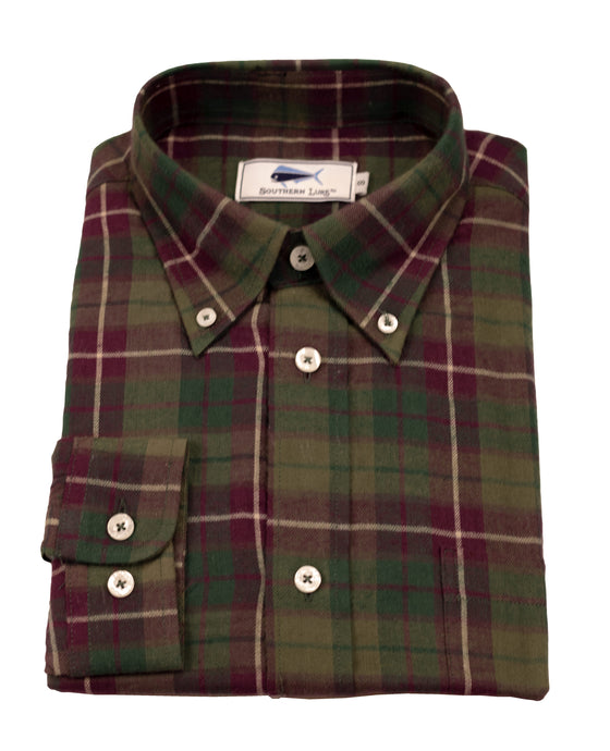 Flannel Sport Shirt - Green & Red