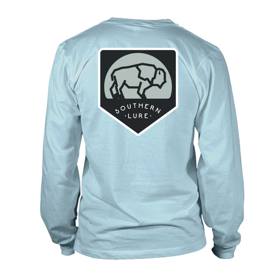 Youth  - Long Sleeve Tee - Buffalo Patch - Sky Blue