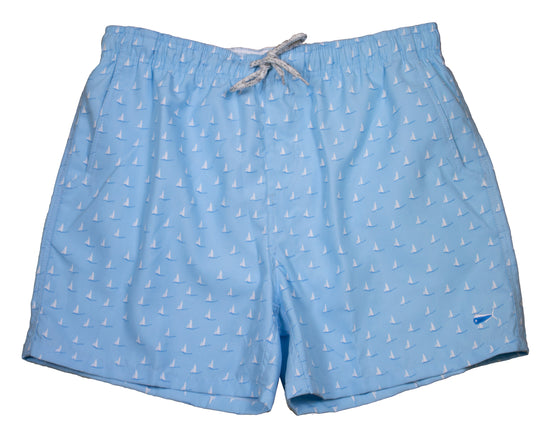 Adult - Swim Trunks 19 - Sailboat Blue