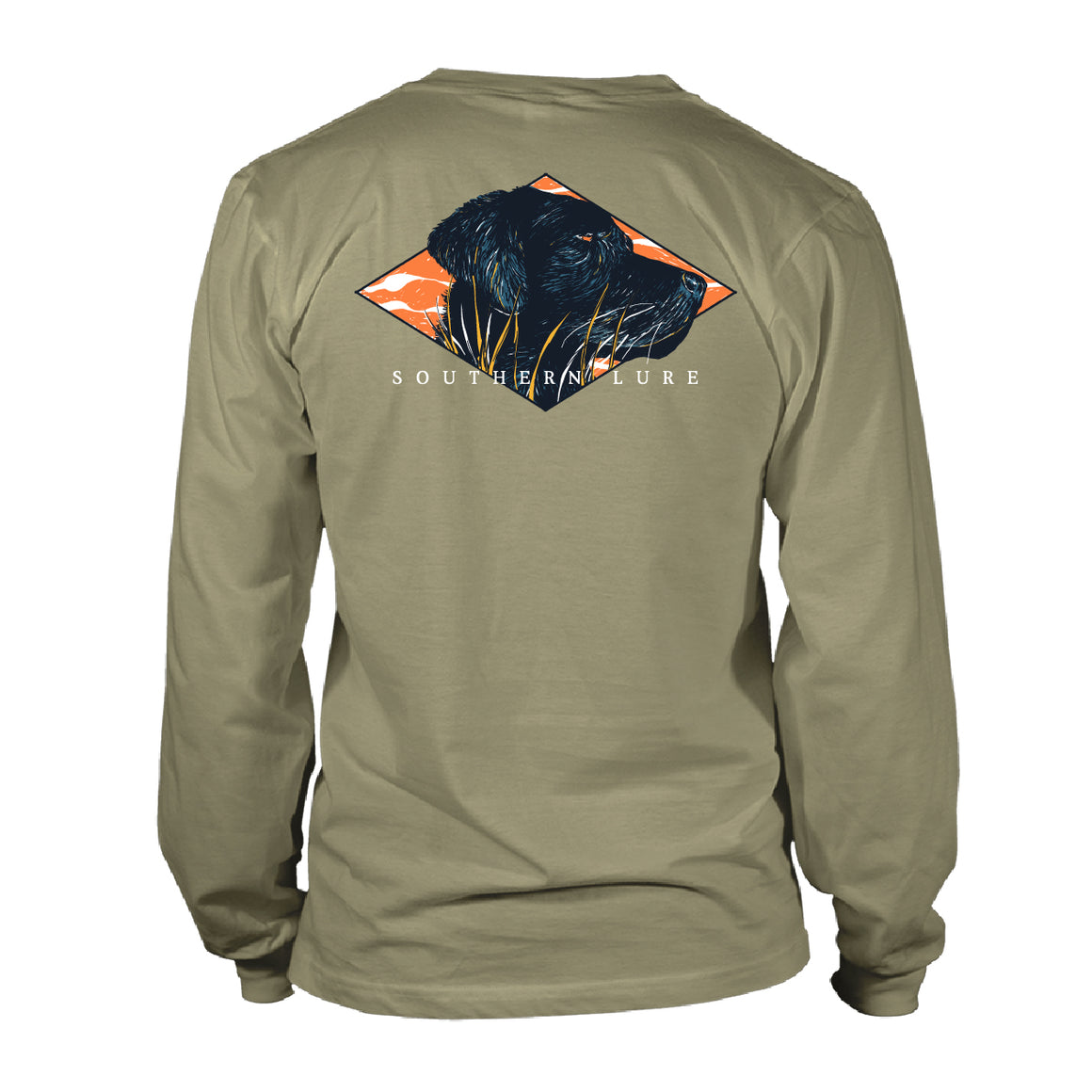 Boy's Youth & Toddler Long Sleeve Cotton Tee - Black Lab Hunt - Khaki