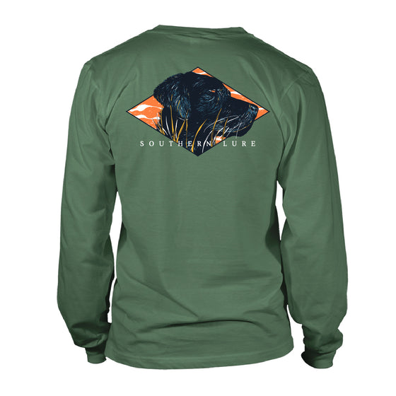 Men's Long Sleeve Black Lab Hunt Camo Tee - Oak Green