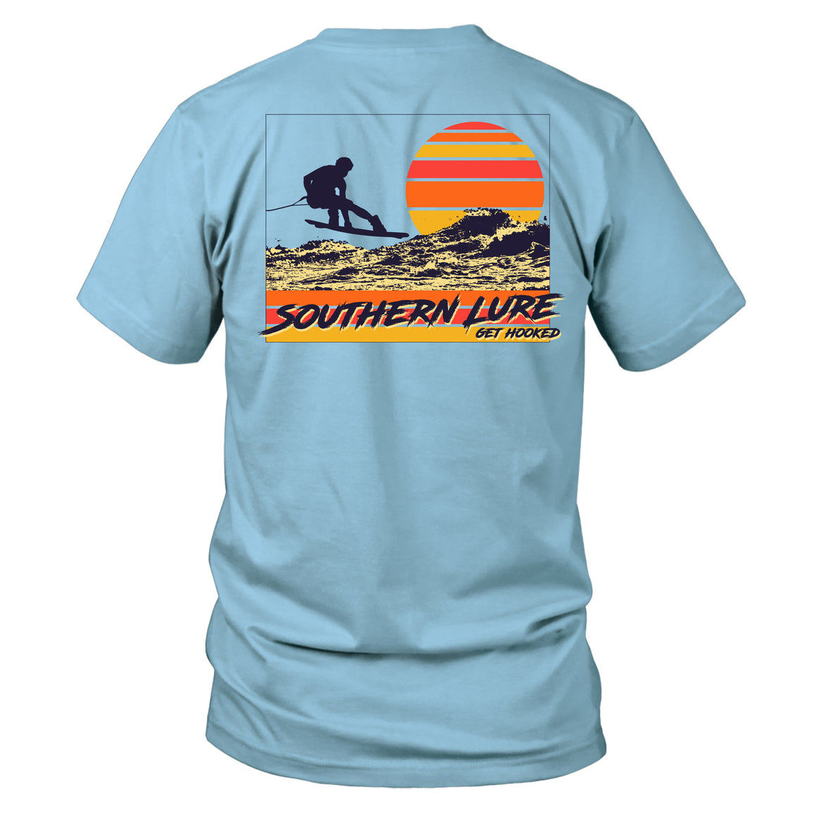 Youth & Toddler Short Sleeve Cotton Tee - Wakeboarding - Sky Blue