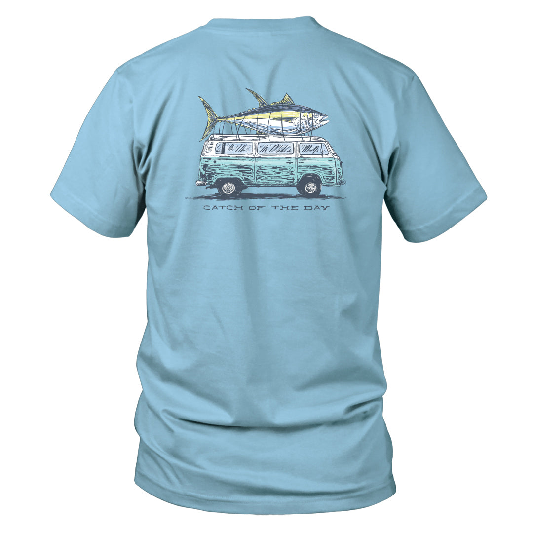 Youth & Toddler - Short Sleeve Tee - Catch of the Day - Sky Blue