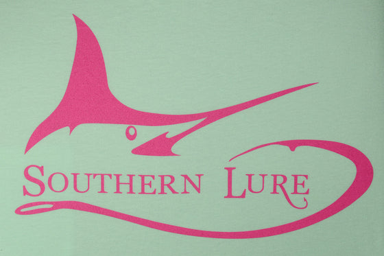 Youth Marlin Darlin High Tide Mint Tee with Pink Print