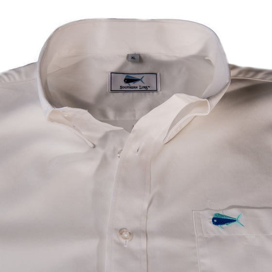 Southern Lure White Sport Shirt with Turquoise Embroidered Logo