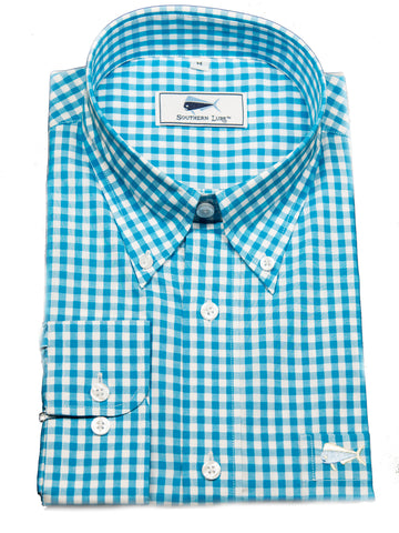 Turquoise Gingham Sport Shirt