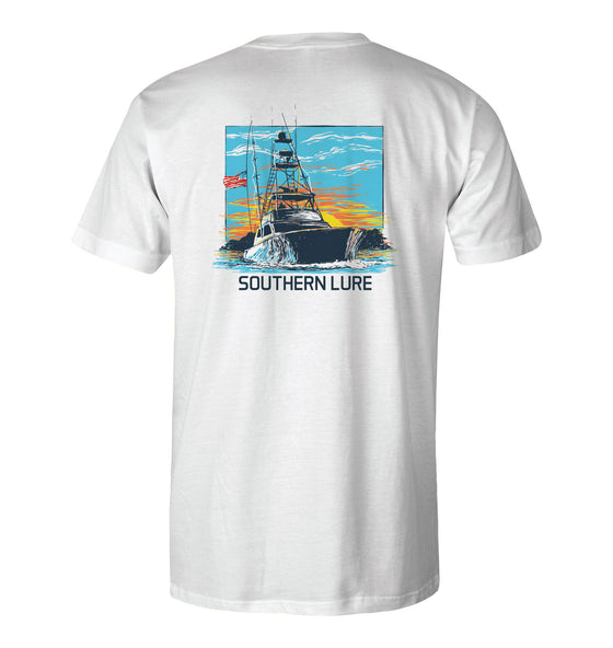 Youth Short Sleeve Tee - Deep Sea Boat - White