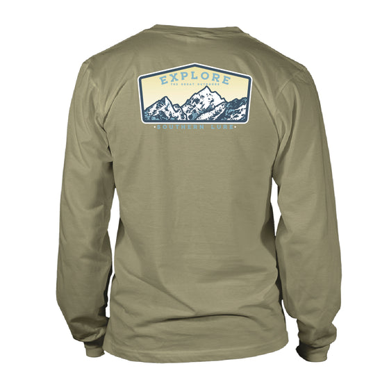 Men's Long Sleeve Cotton T shirt - Explore Patch - Khaki