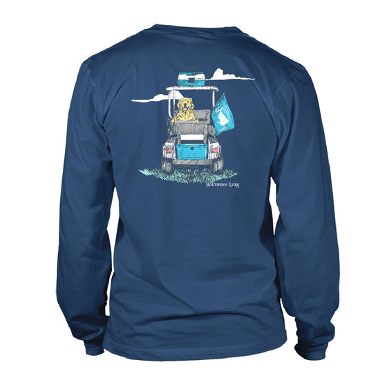 Men's Long Sleeve Cotton T shirt - Fishing Cart - Slate