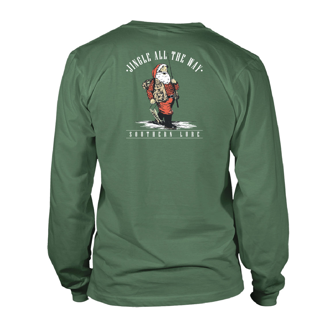 Boy's Youth & Toddler Long Sleeve Cotton Tee - Fishing Santa - Oak Green