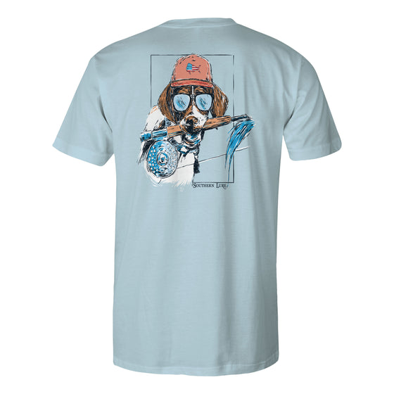 Men's Short Sleeve Tee - Pup Rod - Sky Blue