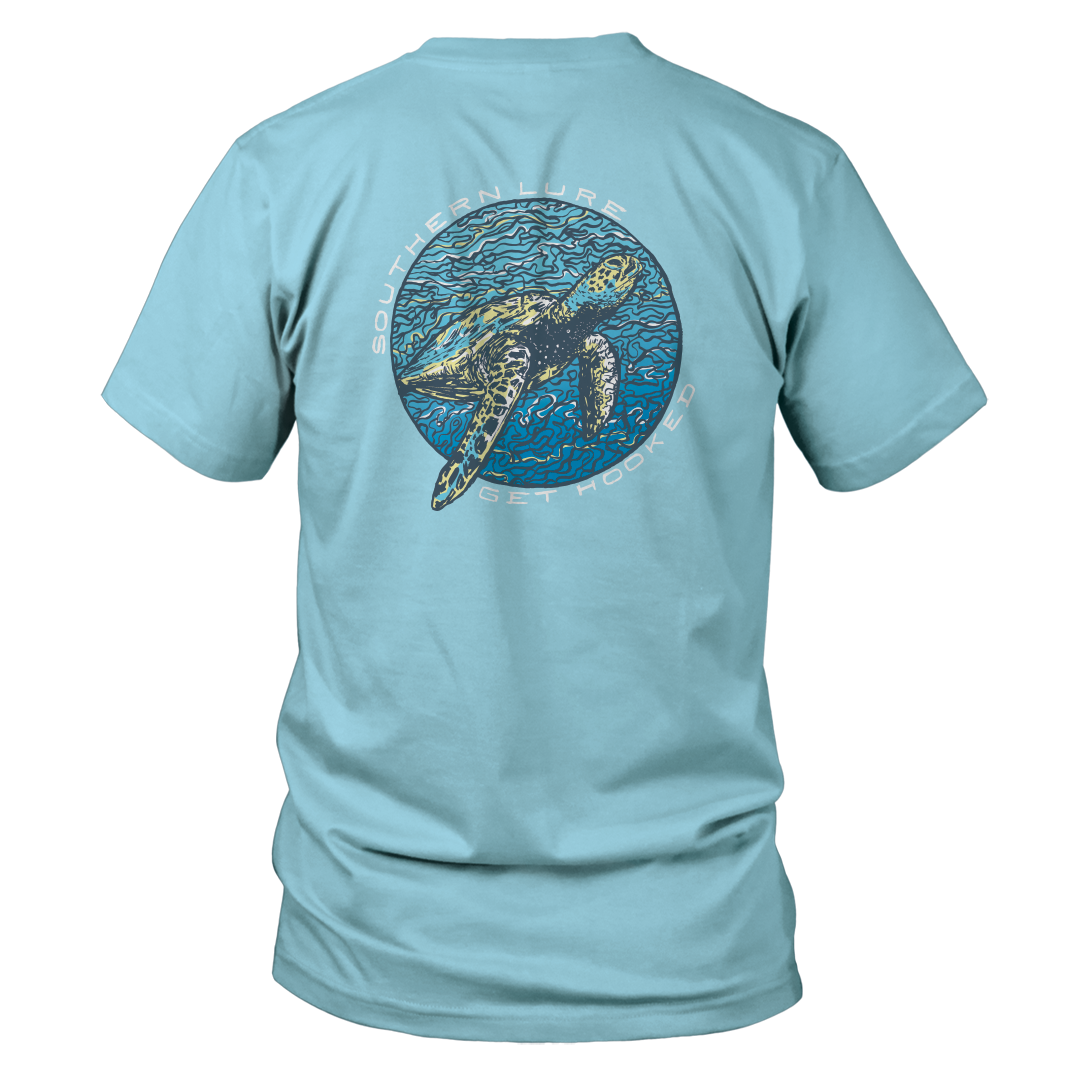 Women's Short Sleeve V-Neck Tee - Sea turtle - Sky Blue