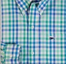 Youth & Toddler Short Sleeve Woven Sport Shirt - Green & Royal Blue Large Gingham