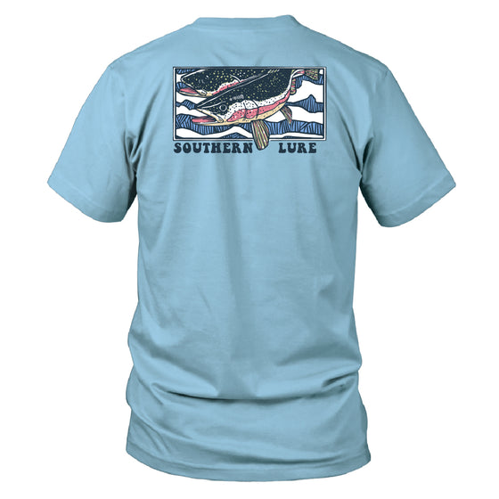Men's Short Sleeve Cotton Tee - Trout Run - Sky Blue