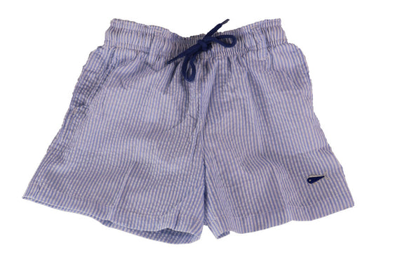 Youth Seersucker Swim Trunks - Bay Blue