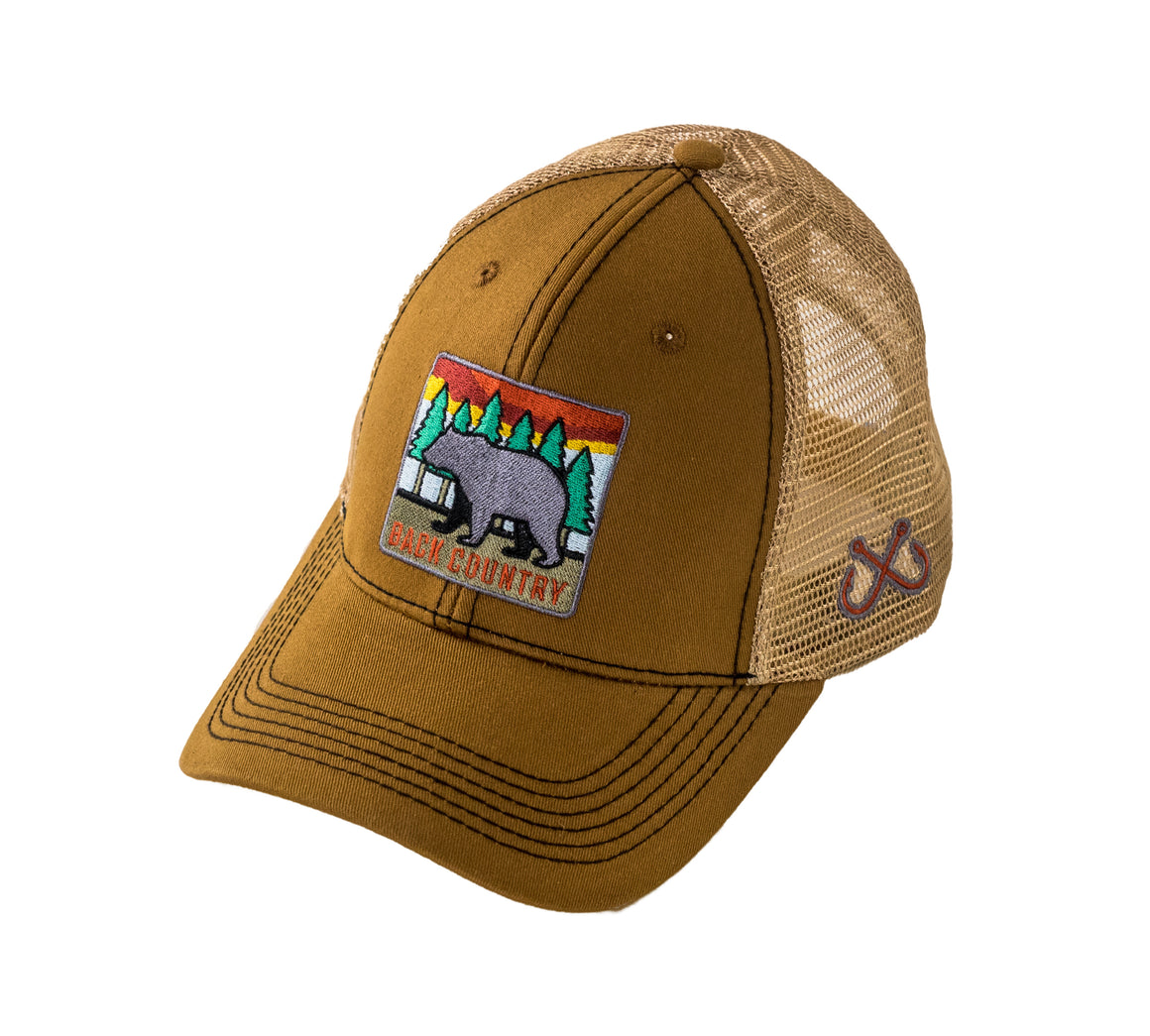 Youth - Trucker Hat - Back Country Bear - Camel/Tan