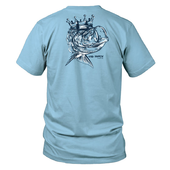 Boy's Youth & Toddler Short Sleeve Cotton T shirt - King Tarpon - Sky Blue