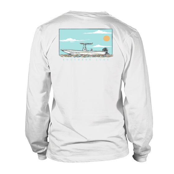 Men's Long Sleeve Cotton T shirt - MD Skiff - White