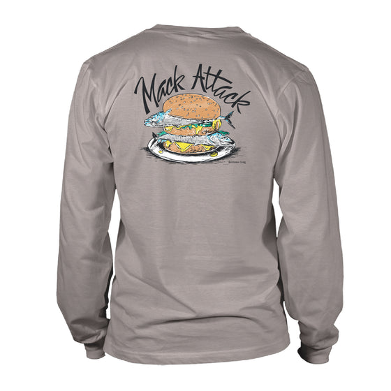 Men's Long Sleeve Cotton Tee - Mack Attack - Granite