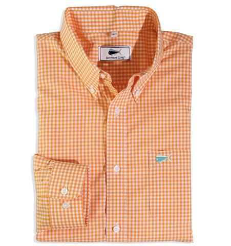 Orange Gingham Sport Shirt