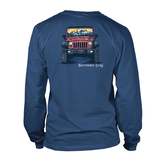 Men's Long Sleeve Cotton Tee - Packrat Jeep 2 - Slate