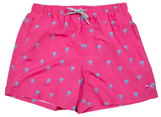 Men's Printed Swim Trunks - Palm Trees - Pink
