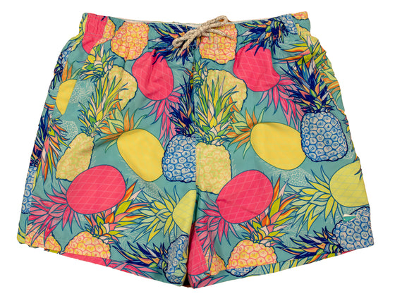 Men's Printed Swim Trunks - Print - Pineapple - Turquoise