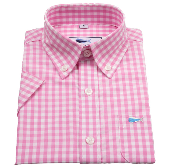 Youth & Toddler Short Sleeve Woven Sport Shirt - Pink Gingham