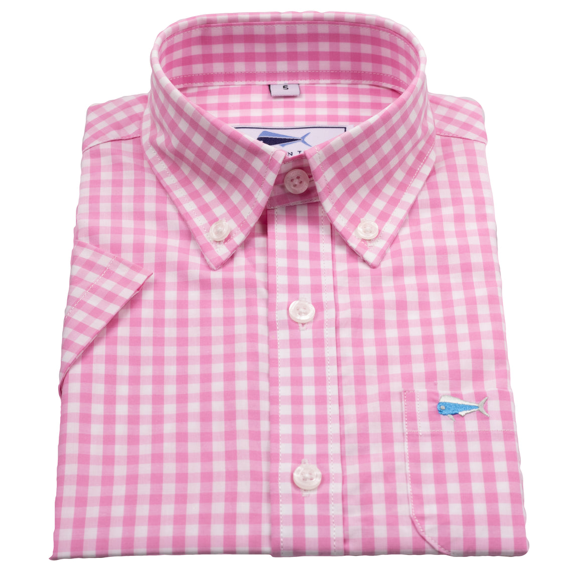 Youth SS Woven Sport Shirt - Pink Gingham