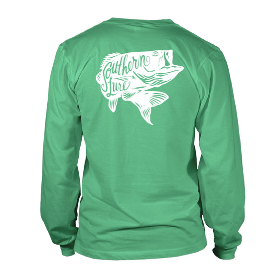 Men's Long Sleeve Cotton Tee - SL Bass - Seafoam
