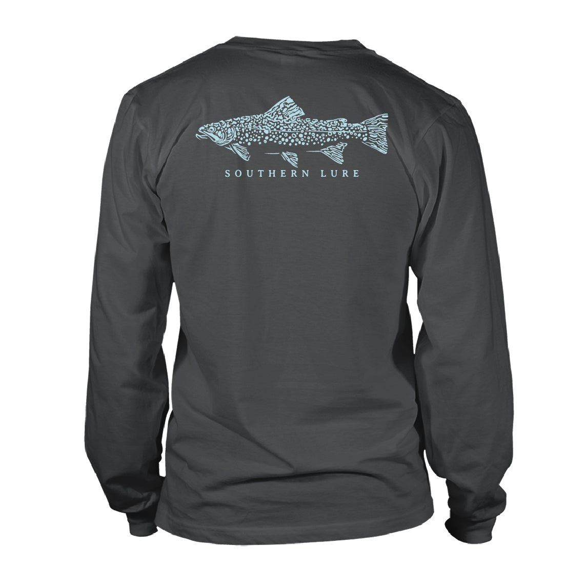 Men's Long Sleeve Cotton T shirt - Stamped Trout - Pepper