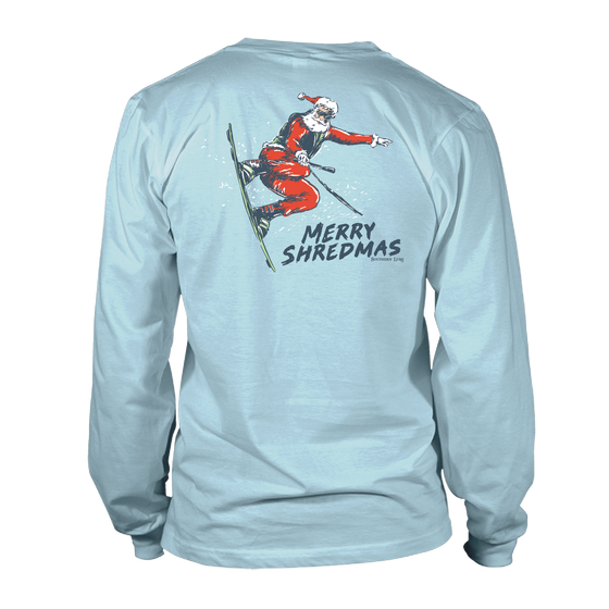 Youth  & Toddler - Long Sleeve Tee - Merry Shredmas - Sky Blue