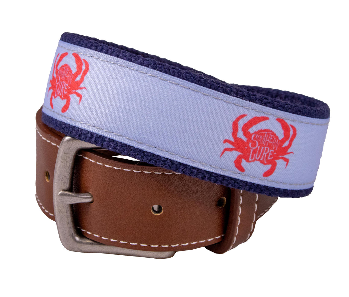 Youth - Belt - SL Crab Canvas - Navy/Sky Blue