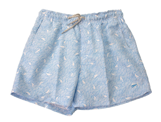 Youth & Toddler - Printed Swim - Whales - Sky Blue