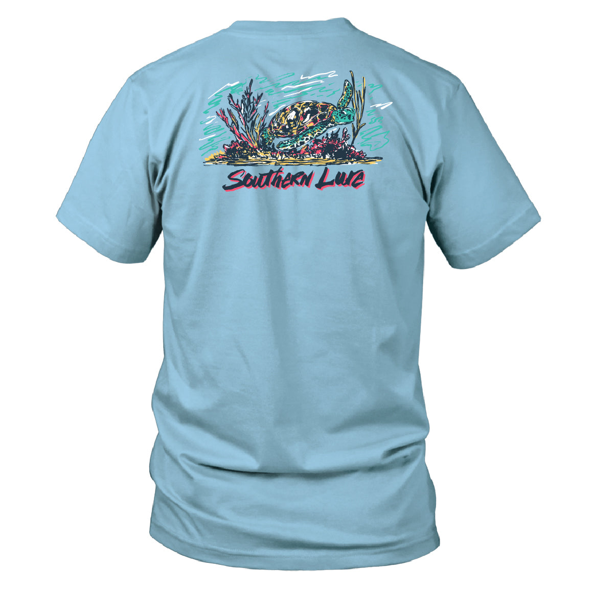 Men's Short Sleeve Cotton Tee - Sea Turtle - Sky Blue