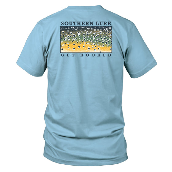 Youth & Toddler  Short Sleeve Cotton Tee - Brown Trout - Sky Blue