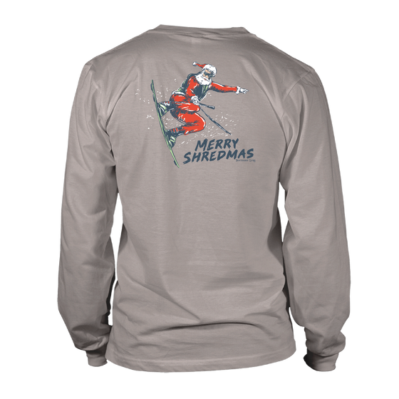 Youth & Toddler - Long Sleeve Tee - Merry Shredmas - Granite