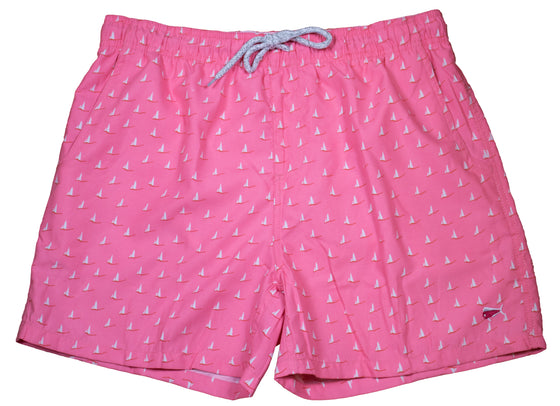 Adult - Swim Trunks 19 - Sailboat Pink